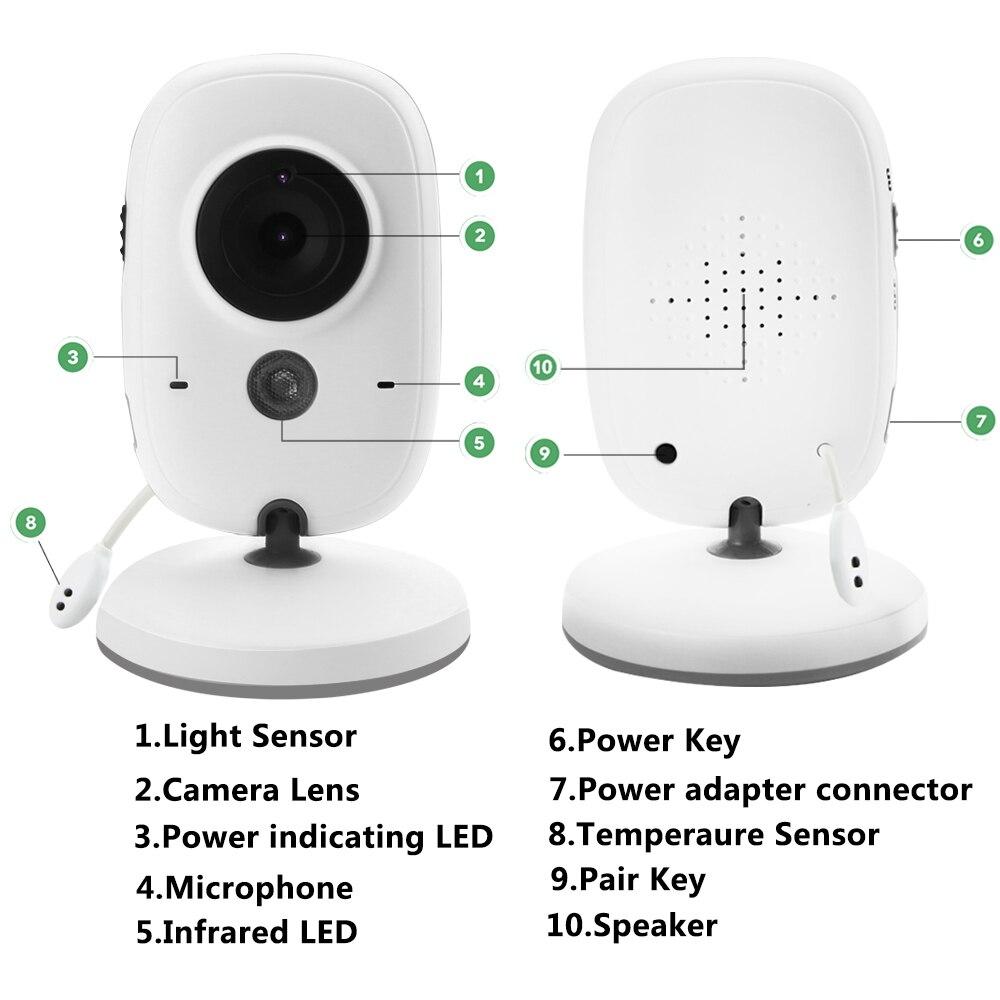 VB603 moniteur de bébé couleur vidéo sans fil avec 3.2 pouces LCD 2 voies Audio parler Vision nocturne Surveillance caméra de sécurité Babysitter - 6