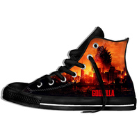 2019 Hot Fashion Printing hIgh top Sneakers Godzilla Unisex Lightweight Casual Shoes