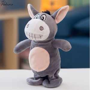 Electronic Talking Donkey Cows Plush Toy Cute Speak Music And Walk Dolls Pets Vocal Toys(China)