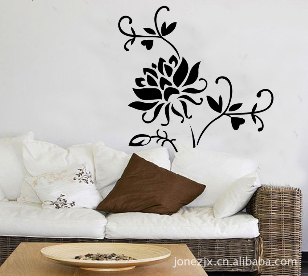 Black lotus parlor tv background bedroom flower vine art decals black lotus parlor tv background bedroom flower vine art decals wallpaper removable wall stickers 100cm 80cm in wall stickers from home garden on amipublicfo Gallery