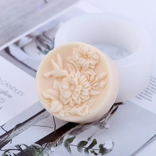 Silicone Mould 3d round shape Relief Rose Flower with Annunciation bird Soap Mold Nordic Articraft Silica Gel Aroma Stone