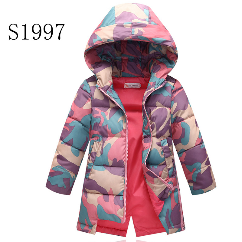 Kids Winter Coat 2017 New Brand Baby Winter Feather Parkas For Teenagers Girls Warm Printing Camouflage Coat High Quality 5-12 T куртка topman topman to030emtqr52