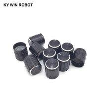 potentiometer knob 10pcs 15*17mm aluminum alloy potentiometer 15*17 knob rotation switch volume control knob black (3)