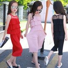 JENYA Baby Girls Chiffon Cake Vest Pleated Top+Loose Pants Ninth Twinset Summer Fashion Kids Children Set