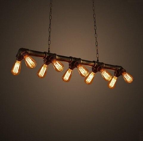 edison loft stil vintage anh nger leuchten industrie metall wasser rohr h ngen lampe leuchte. Black Bedroom Furniture Sets. Home Design Ideas