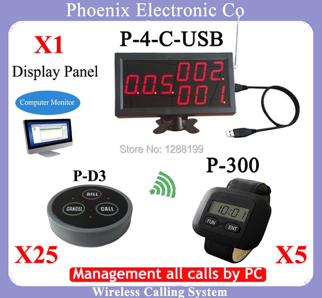 Menú Del restaurante Sistema de Llamada Con 433.92 mhz Receptor P-4-D-USB Y Botones de Campana Inalámbrica P-D3 X25pcs Y Buscapersonas Muñeca P-300 X5pcs