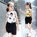 2017 Baby Girls Summer Suits New Korean Kid Shirt+Pant Two-Piece Sets Kid Sleeveless Casual Character Pullover Clothing Hot Sale