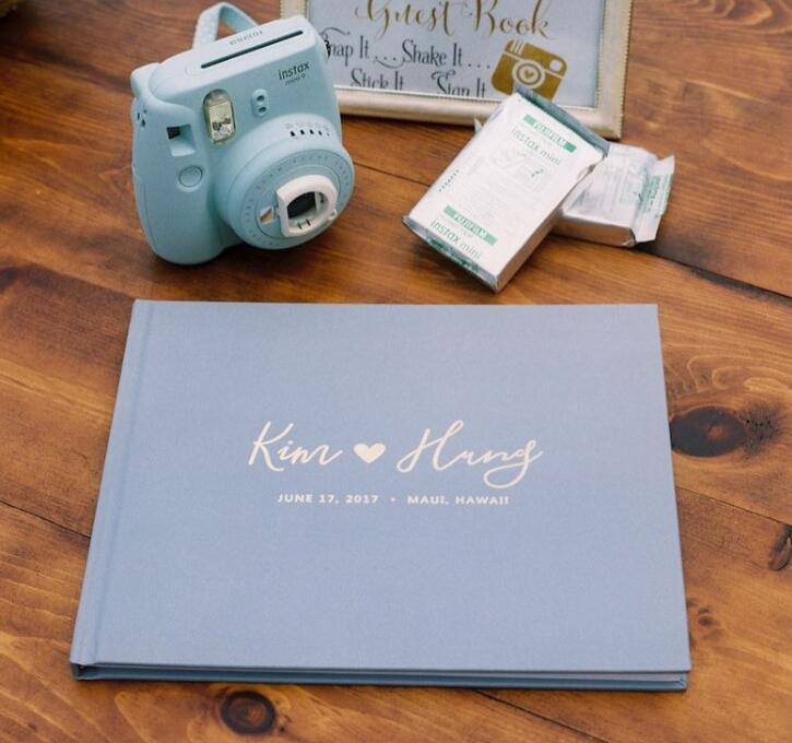 Personalize Names Date Dusty Blue Wedding Guest Book With Gold Foil, Black Pages Guest Book Wedding, Photo Albums Guest Book