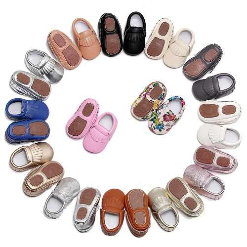 2019 PU Leather hard sole toddler moccasins soft Fringe baby shoes Non-slip first walkers shoes for baby boys girls