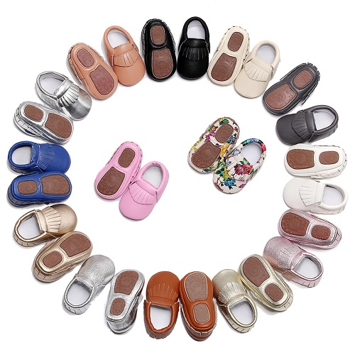 2018 PU Leather hard sole toddler moccasins soft Fringe baby shoes Non-slip first walkers shoes for baby boys girls