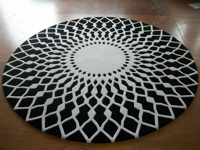 wool round large area rugs luxury prayer carpet modern black white handmade  rug Living room/