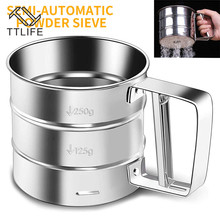 Sifters Shakers Stainless Steel Mesh Flour Sifter Mechanical Baking Icing Sugar Shaker Sieve Tool Cup Shape Kitchen Tools sifters shakers stainless steel mesh flour sifter mechanical baking icing sugar shaker sieve tool cup shape kitchen tools