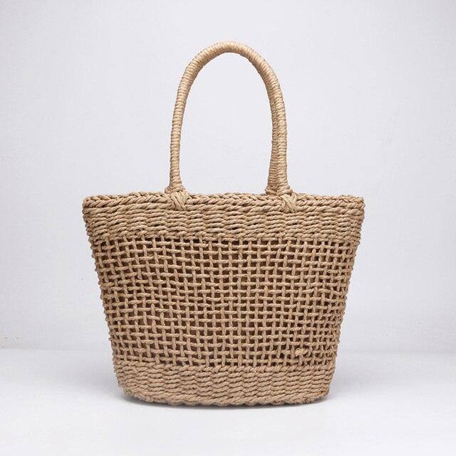 Casuais Simples E Generoso Não Decorativa Plain Cor Net Oco Texturizado Saco Tecido Bolsa De Palha Populares Bolsas 37x25 CM