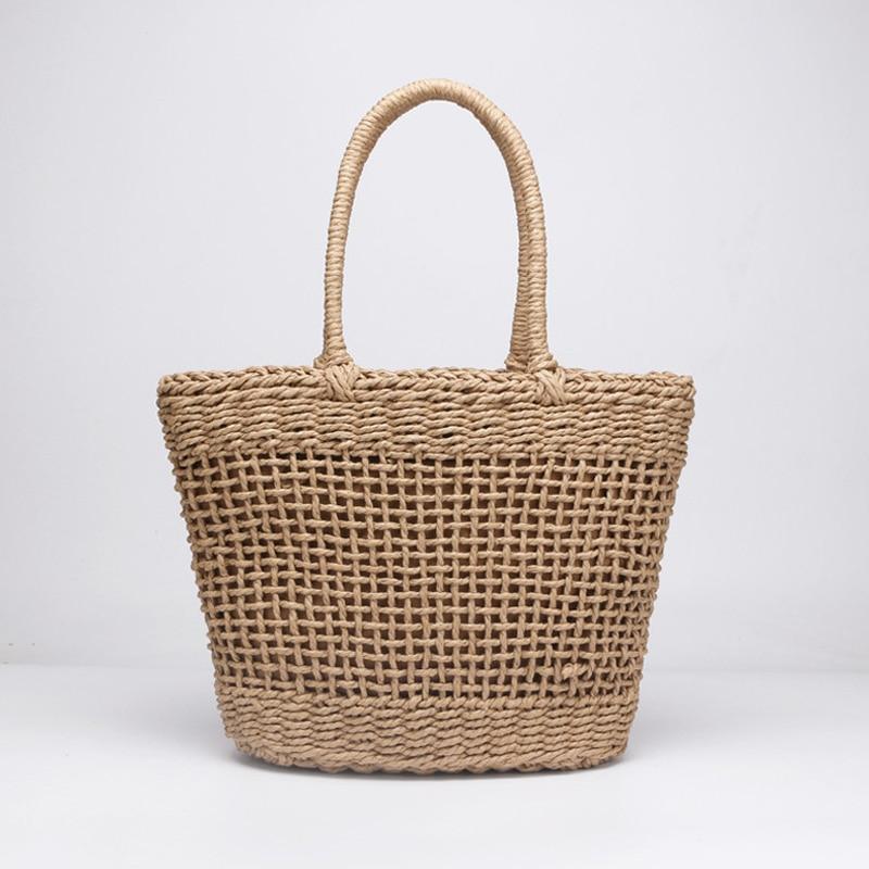 Casual Simple And Generous No Decorative Plain Color Net Hollow Textured Woven Bag Popular Straw Bag Handbags 37x25CM цены