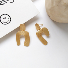 girl unique geometrical contracted metal earrings exaggerated fashion big declaration of delicate wholesale