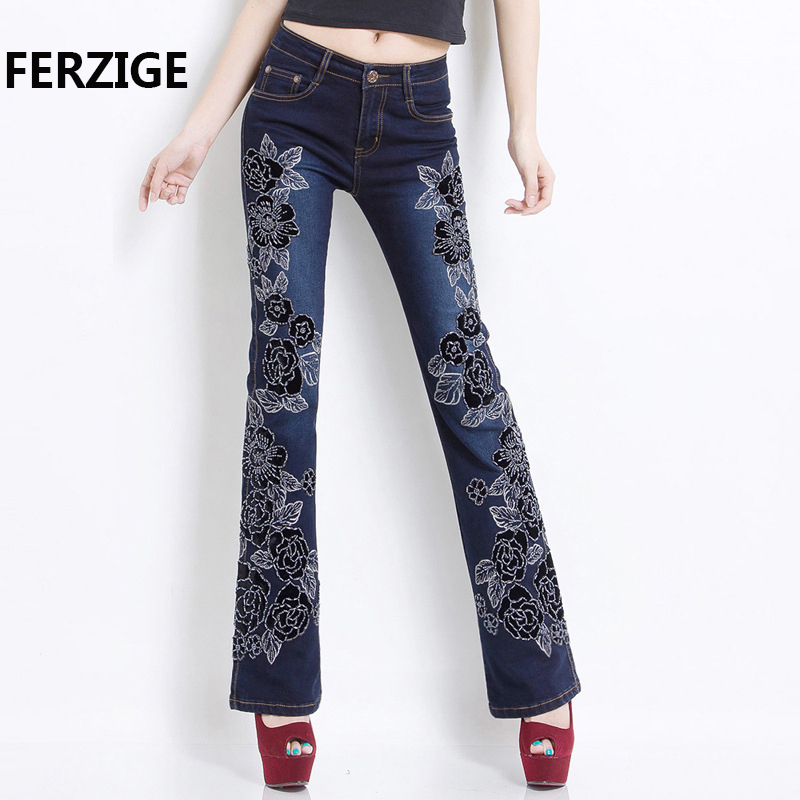 FERZIGE Women Jeans with Embroidery Manual Embroidered Black Blue Hight Waist Pants Hand Beads Bell Bottom Stretch Female Mujer flower embroidery jeans female blue casual pants capris 2017 spring summer pockets straight jeans women bottom a46