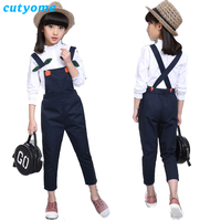 Cutyome 3 14 Years Toddler Girls Back School White Blouses Top+Overalls Suspender Pants Children 2 Piece Set Teen Autumn Clothes