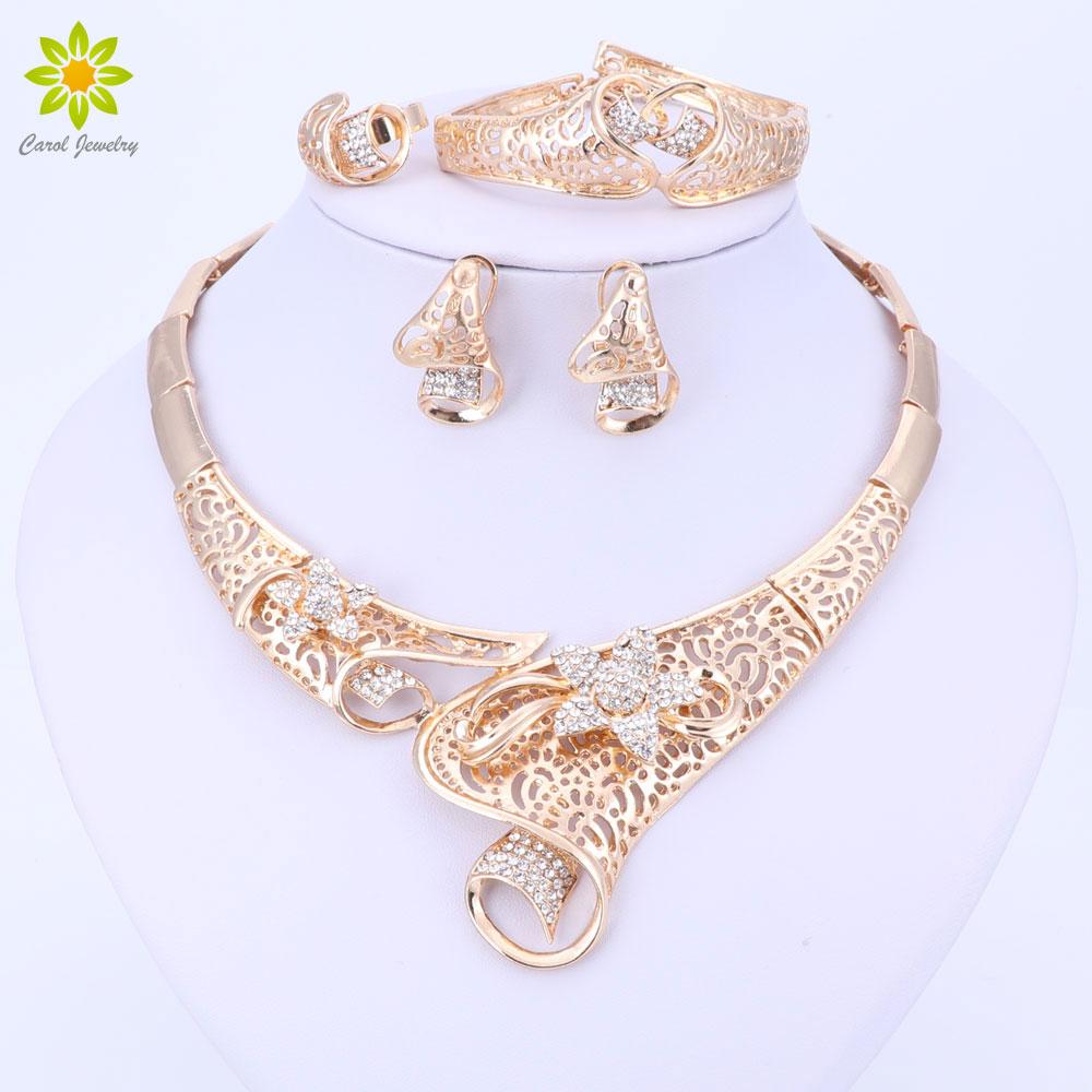 Heißer verkauf dubai kristall strass blume halskette sets gold farbe - Modeschmuck - Foto 1
