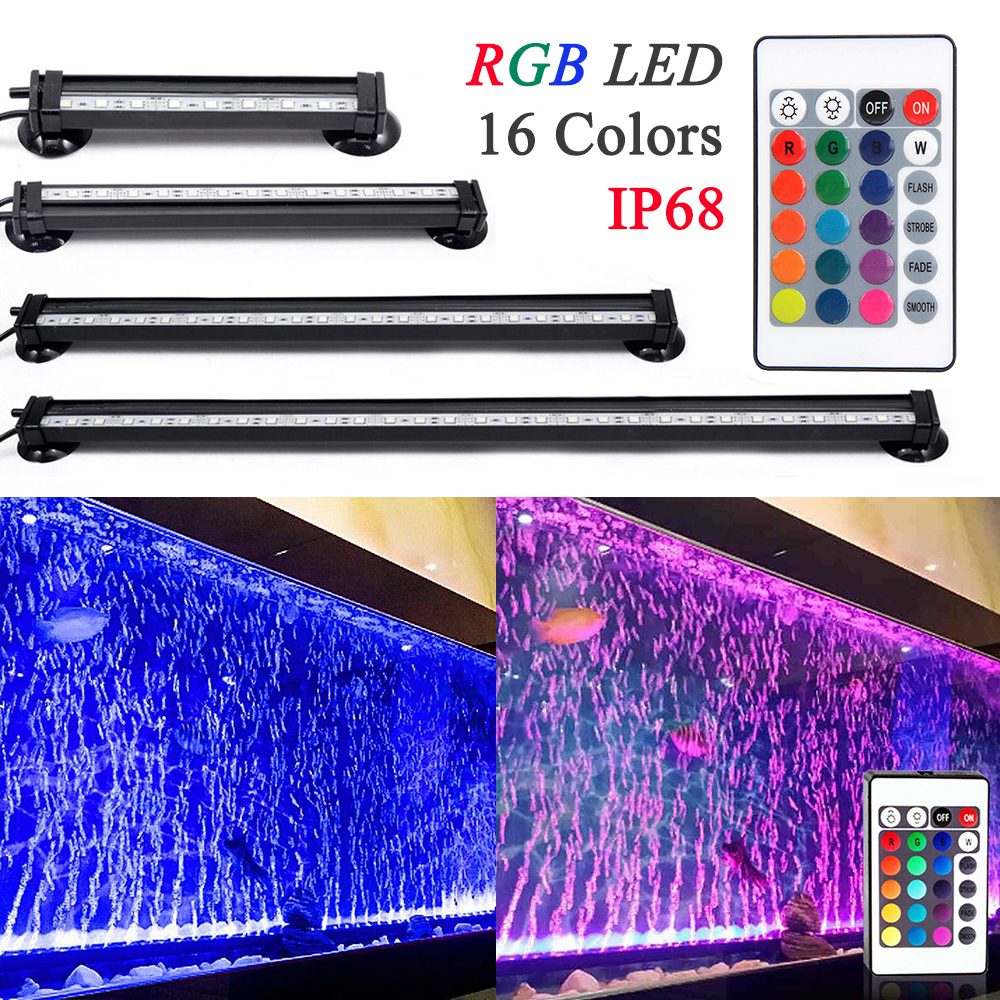 Remote Control RGB LED Aquarium LED Aquarium Lighting 16CM/26CM/31CM/46CM 5050 RGB Waterproof LED Lamp Fish Tank Light D30