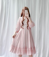 Women Lolita Dress Sweet Doll Peter Pan Collar Ruffles One piece Dresses