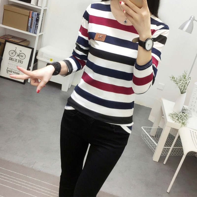 HTB1oKY6GN9YBuNjy0Ffq6xIsVXaL - Autumn Korean Female harajuku Long Sleeve T-shirt Women Colorful