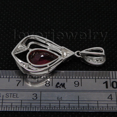 Hot Sale Solid 14Kt White Gold Natural Diamond Ruby Pendant Pear 8x12mm Shape Wedding Jewelry WP011