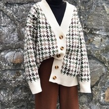 Autumn Winter Lattice Knitted Long Cardigan