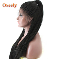 Oxeely Lace Front Wigs Black Color Micro Braids Heat Resistant Synthetic Wigs Long Braided Wig for Black Women With Baby Hair