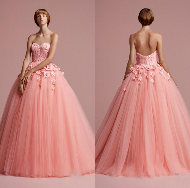 Vintage Peach Color Tulle Long Formal Party Dresses With Pretty 3D ...