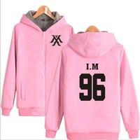 K POP K POP KPOP MONSTA X Pink Hoodie Sweatshirt WONHO YOOKIHYUN I.M JOOHEON Winter Thick Fleece Hooded Jacket Coat Women Men