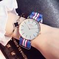 Popular de oro rosa vestido de las mujeres relojes gimto marca casual señoras reloj correa de nylon mujer deporte reloj reloj mujer relogio