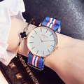 Popular rosa de ouro as mulheres se vestem relógios gimto marca casuais senhoras relógio cinta de nylon esporte mulher relógio de pulso reloj mujer relogio
