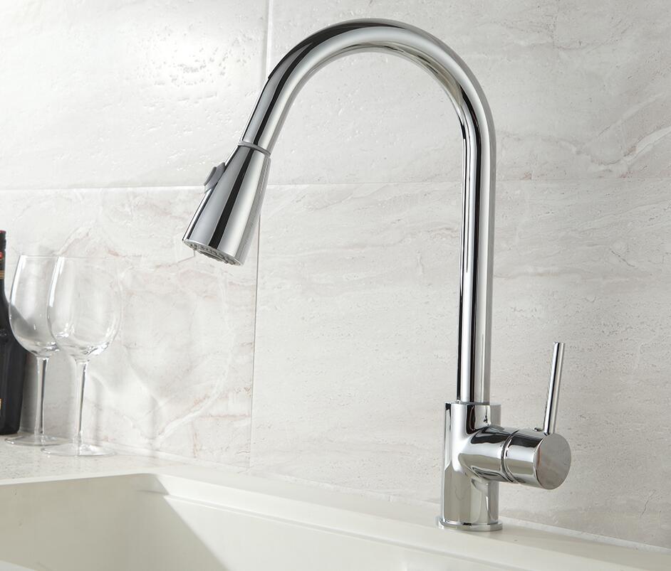 Neu Angekommene Herausziehen Küchenarmatur Chrom//nickel//quarz steinoptik wie Waschbecken Mischbatterie 360 grad-umdrehung küche mixer