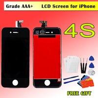 AAA черный, белый цвет для IPhone 4S 4 ЖК-дисплей Дисплей Сенсорный экран планшета Ассамблеи телефон Запчасти для авто ЖК-дисплей для iPhone4S ЖК-диспл...