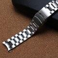 Correa de reloj correas de Reloj de Metal de Acero Inoxidable Curved end 18 MM 20 MM 22 MM 24mm Plata Negro Para Hombres Relojes hebilla de seguridad Común nueva