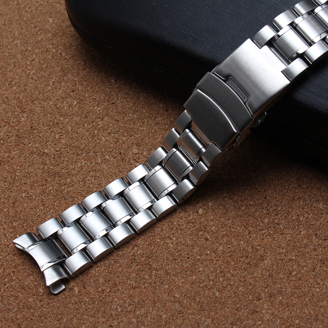 Watchband Stainless Steel Metal Watch bands Curved end 18MM 20MM 22MM 24mm Silver Black For Common Men Watches safety buckle new