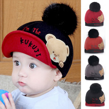 a9f5a218 Cartoon Bear Embroidery Baby Baseball Cap Baby Boy Gril Letter Pompom Felt  Hat Children Autumn Winter