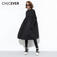 CHICEVER Winter Black Women Dress Long Sleeve Loose Big Size Pullovers O Neck Dressses Female Clothes