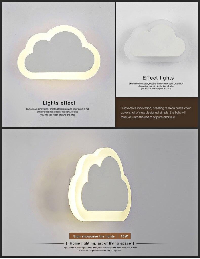 moderne enfants nuage mur lampe led chambre de chevet applique