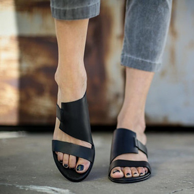Plus Size 35-43 WDHKUN 2020 High Quality Fashion Women Leather Sandals Casual Summer Slip On Slippers Sandals Shoes
