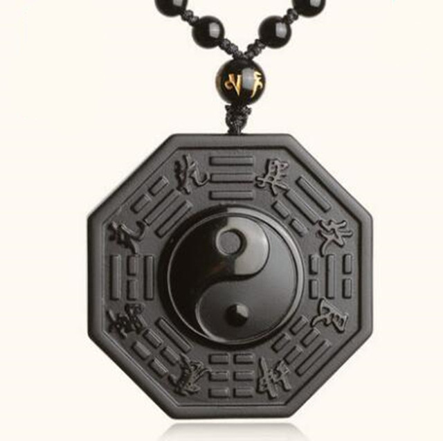a80356d90fda1d DropShipping Black Obsidian Necklace Pendant Chinese BAGUA Men's Jewelry  Women's Jewelry