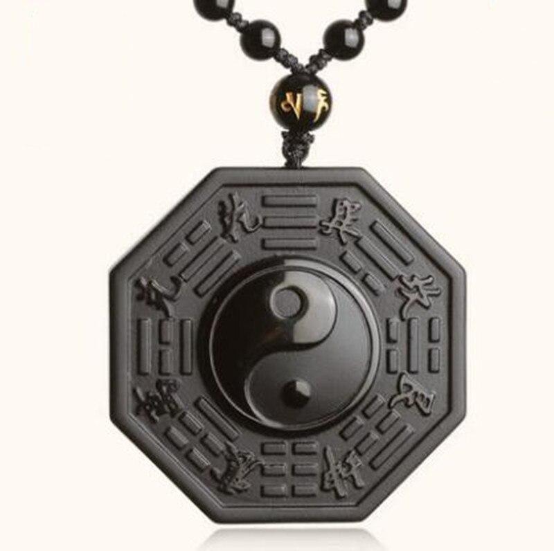 DropShipping Schwarz Obsidian Halskette Anhänger Chinesischen BAGUA männer Schmuck frauen Schmuck