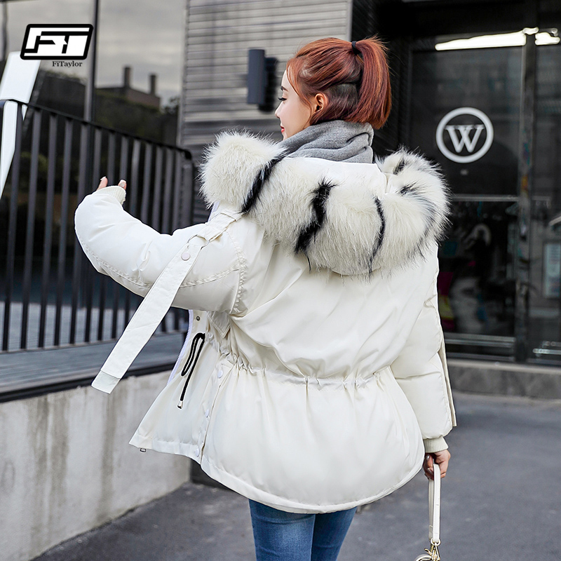 Fitaylor Women Hooded Coat Winter   Parkas   Down Cotton Jacket Loose Bread Short Coats Fur Collar Casual Warm Female Outwear