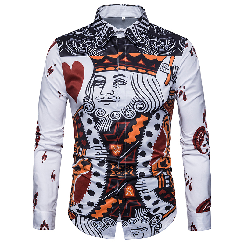 Mens Formal Business Shirts 3D Playing Card Printed Casual Slim Long Sleeve Dresse Shirts Camisa Masculina Casual Funny Shirts