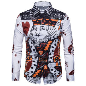 Business Shirts Dresse Playing-Card Long-Sleeve Printed Formal Casual Mens Camisa Masculina
