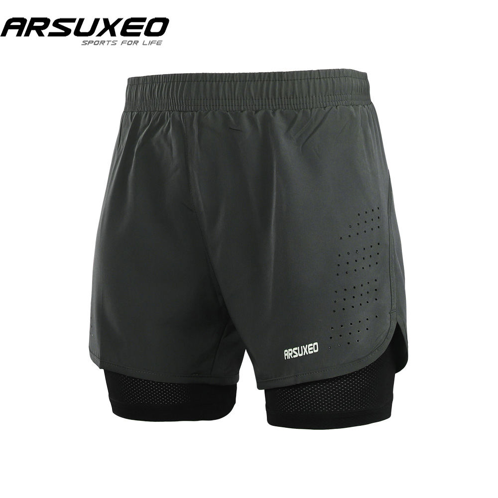 ARSUXEO 2018 Mens 2-in-1 Running Shorts Quick Drying Breathable Active Training Exercise Jogging Shorts With Longer Liner B179 active neon yellow quick drying leggings