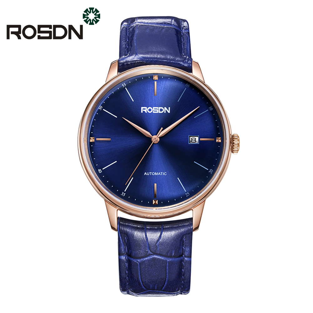 ROSDN Automatic Watch Men Genuine Fashion Casual Watches 50M Auto Date Clock Male Stainless Steel Classic Business Wrist Watch