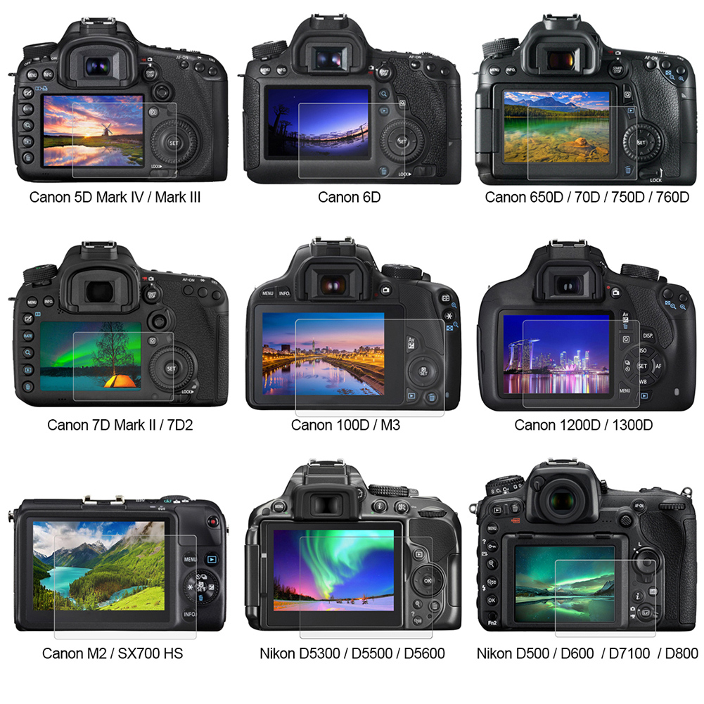 For Canon 650D/70D/700D/750D/6D LCD Screen Guard Protector Tempered Glass Cover 0.3mm Anti-scratch 9H Tempered Glass Film