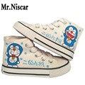 Adultos Casais Janpan Anime Doraemon Grafite Sapatas de Lona Alta Top Laços Meninos Personagem de Banda Desenhada Meninas Pintados À Mão Sapatos Casuais