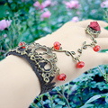 Women Vintage Crystal Bracelet Retro Flower vine pulseiras femininas Fashion Ladies Hand Chain Jewelry